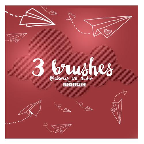 情侣式纸飞机图案、可爱手绘爱心纸飞机装扮Photoshop美图笔刷下载