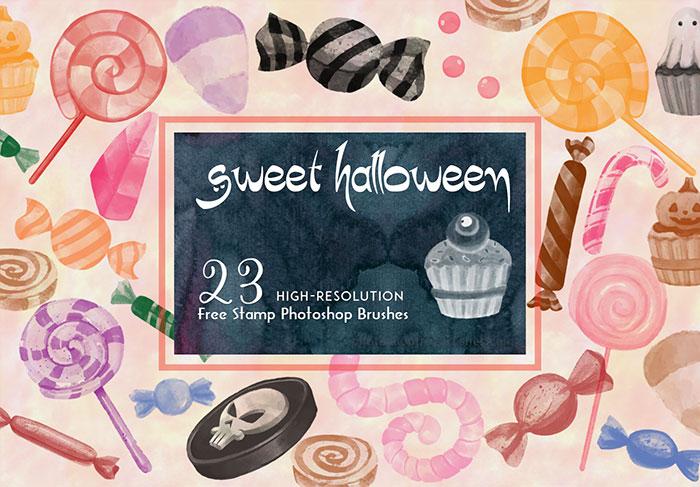 23种万圣节的糖果、棒棒糖、蛋糕等礼品Photoshop笔刷素材下载