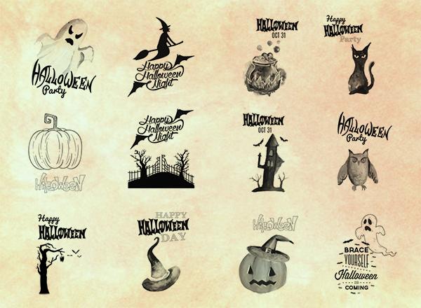 12种可爱卡通装扮图案扫把女巫、幽灵、恐怖南瓜Photoshop笔刷下载