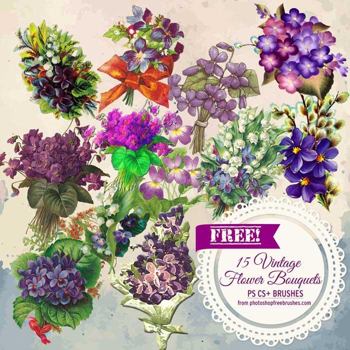 15种免费的复古鲜花图案PS笔刷素材下载