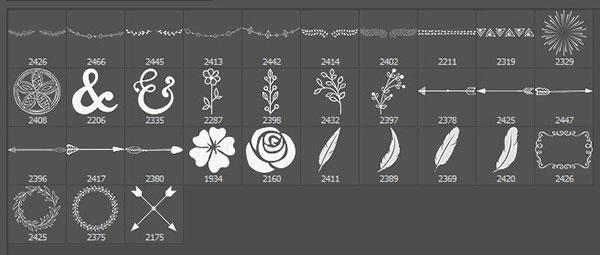 漂亮小清新风格的手绘植物印花图案Photoshop笔刷素材下载