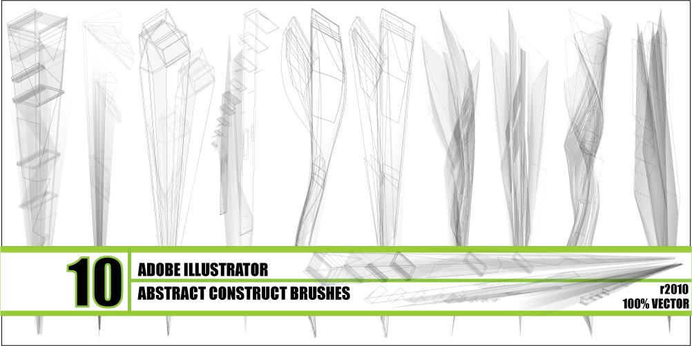 10种抽象构造型Illustrator笔刷素材 - Ai画笔下载