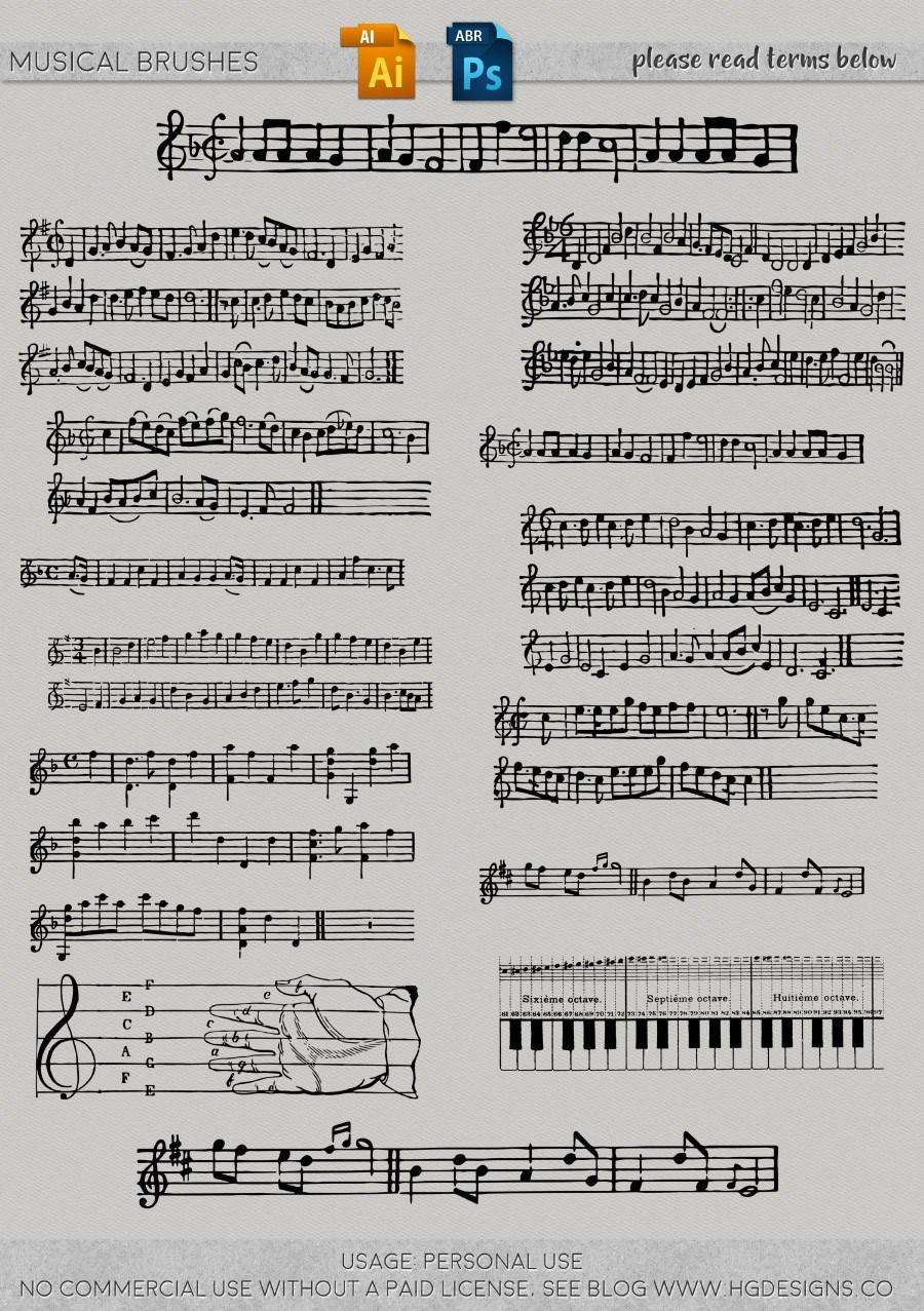 手写音符、五线谱图案、乐普背景PS笔刷下载