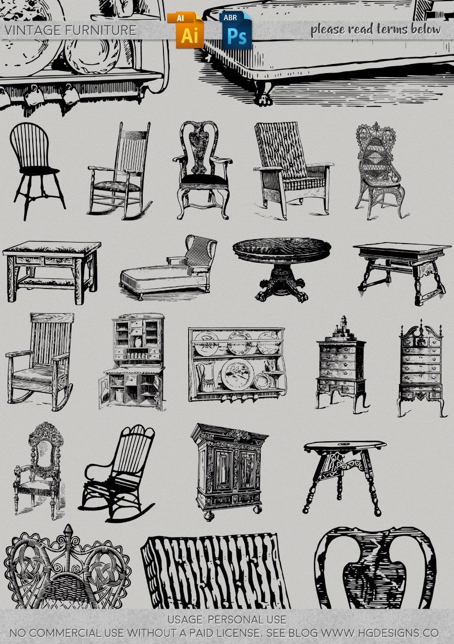 手绘复古涂鸦家具、椅子、桌子、柜子等图形PS笔刷下载