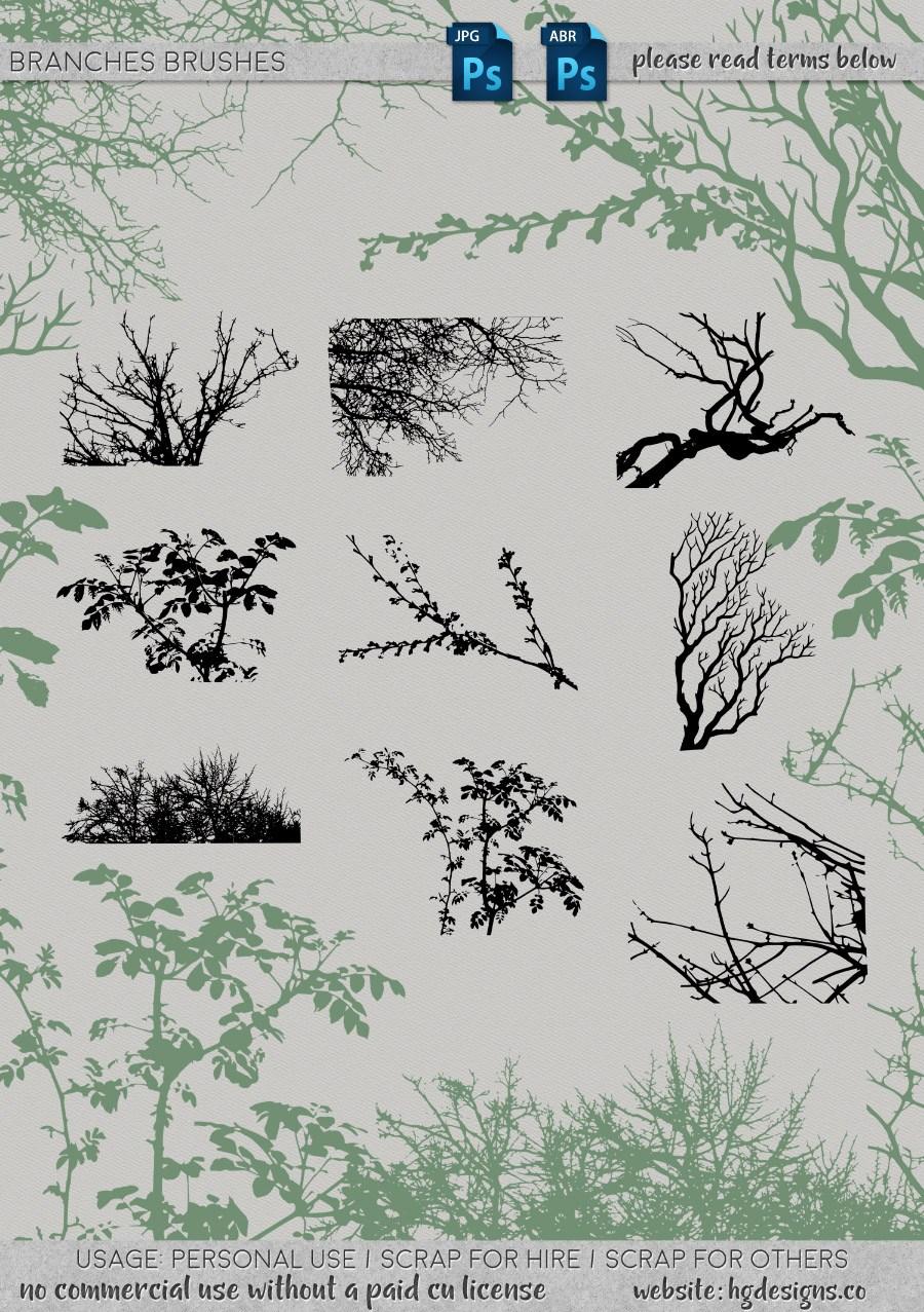 植物枝条、树杈剪影图形造影Photoshop笔刷素材下载
