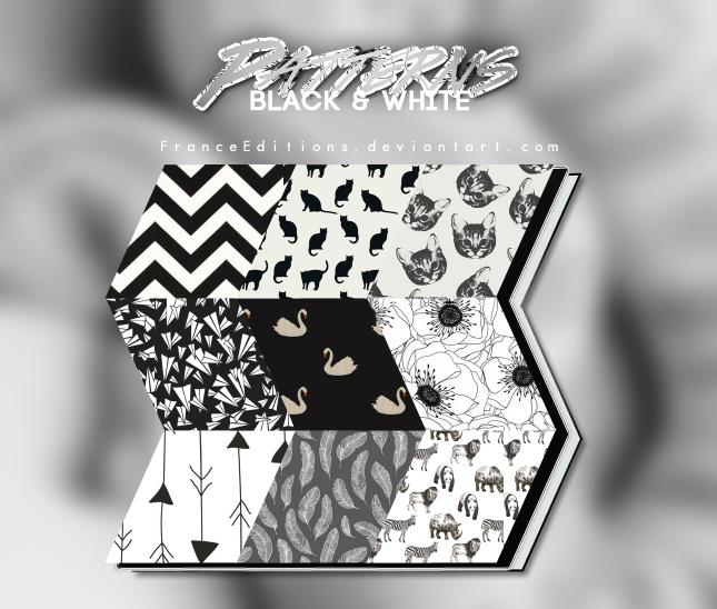 黑白版刻式猫咪、纸飞机、天鹅、羽毛、鲜花、箭头、动物等图案填充Photoshop底纹素材.pat