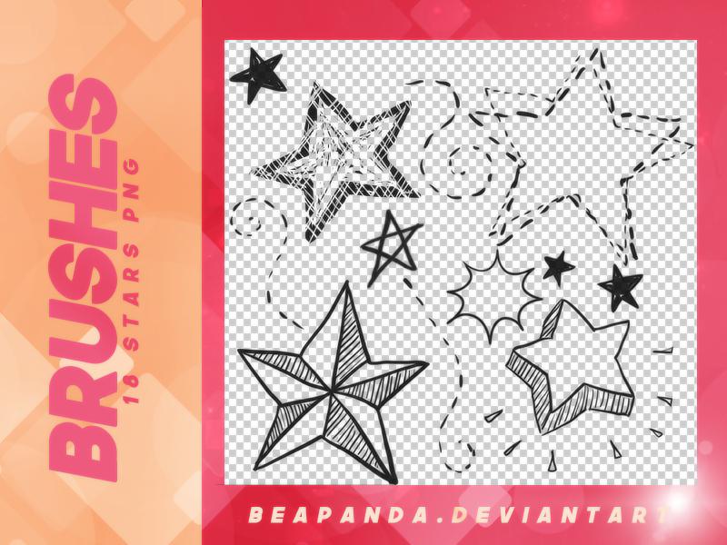 可爱呆萌的卡通星星、五角星图案PS笔刷下载