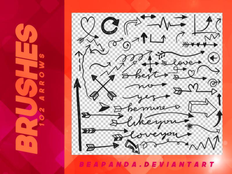 童趣手绘箭头标记图案、标志方向符号PS笔刷下载