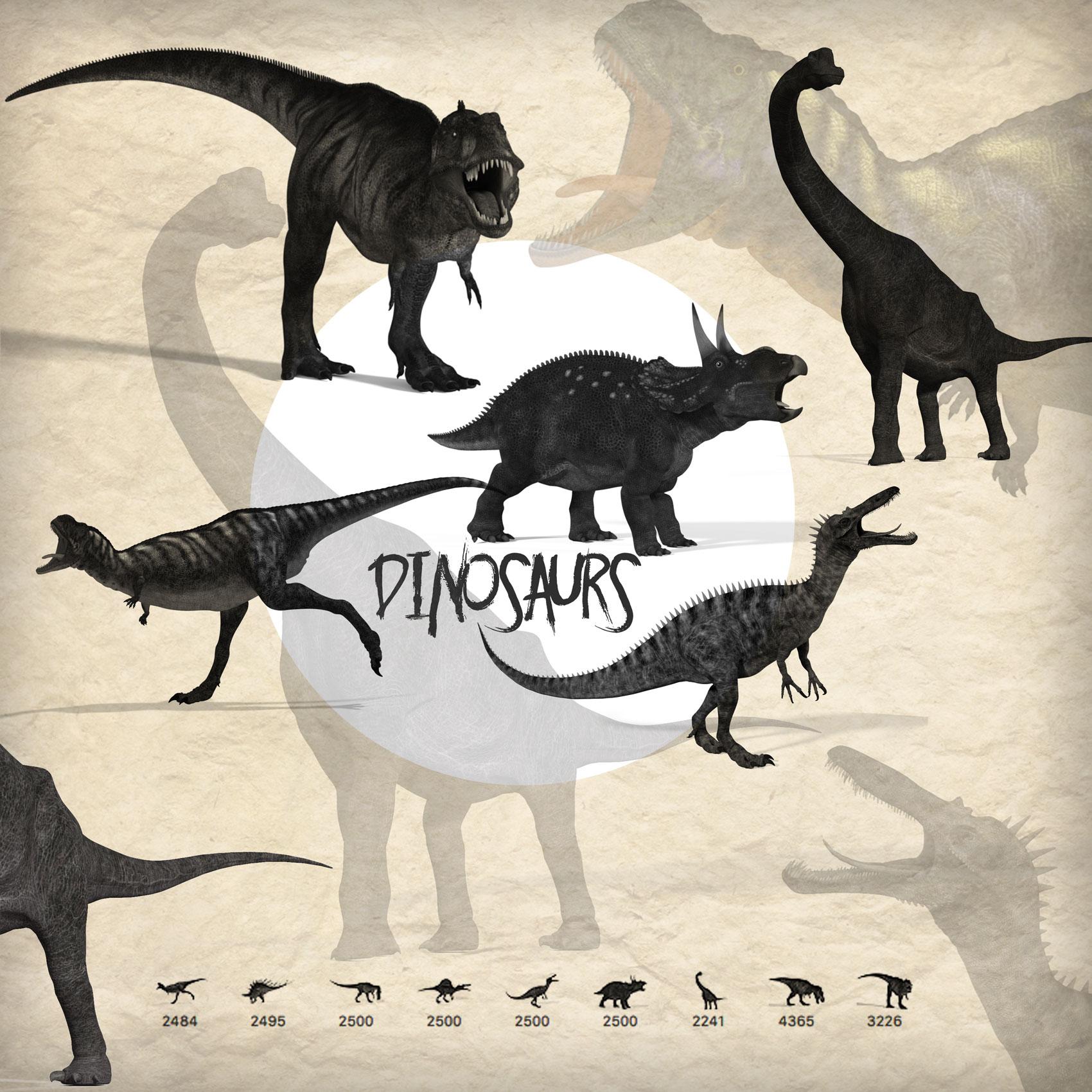 侏罗纪恐龙、霸王龙图案造型PS笔刷素材下载