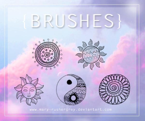 可爱童趣手绘涂鸦太阳图案、太极图案等装饰PS笔刷下载