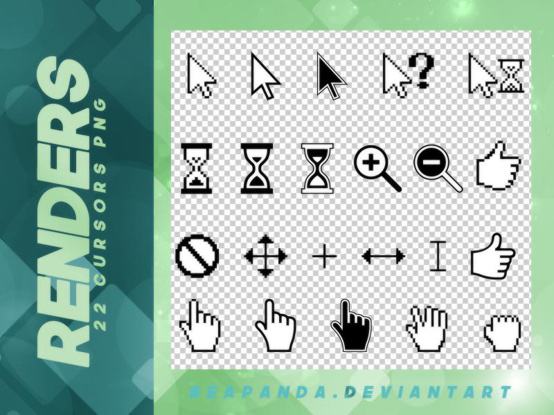 鼠标图形、等待沙漏图形、鼠标手势箭头标记灯之韩国笔刷风格下载(PNG免扣图透明格式)