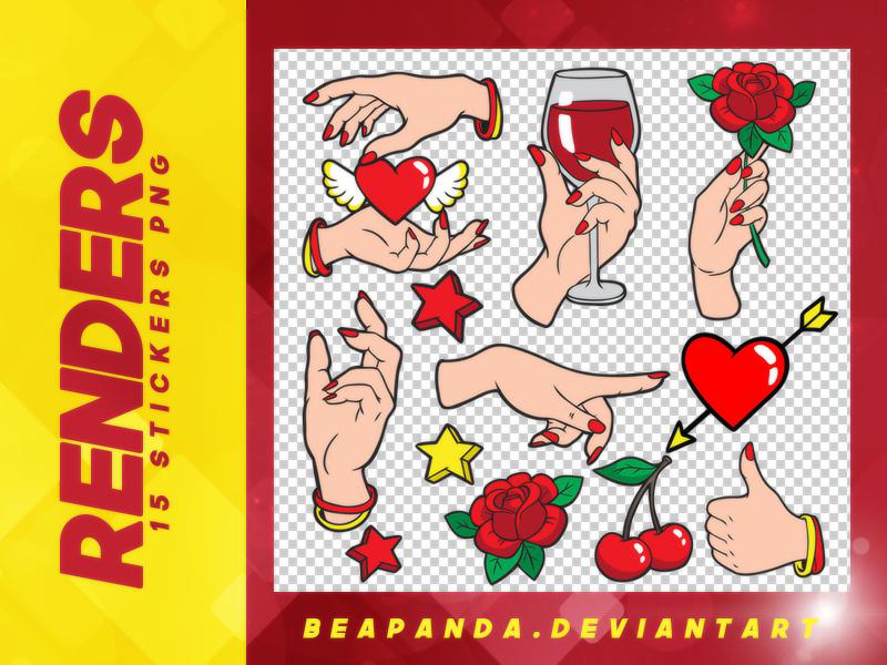 当红女性手势、宴会交际手势、求爱示爱手势韩国笔刷风格下载(PNG免扣图透明格式)