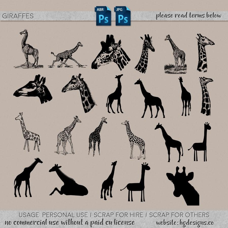 长颈鹿图案PS笔刷下载