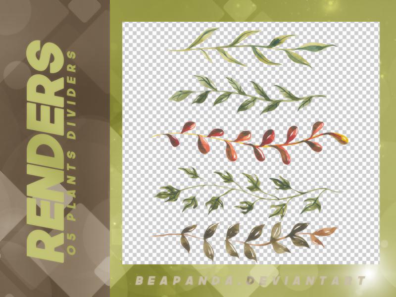 5种手绘的植物叶子枝条图案PS笔刷素材下载(PNG透明格式)