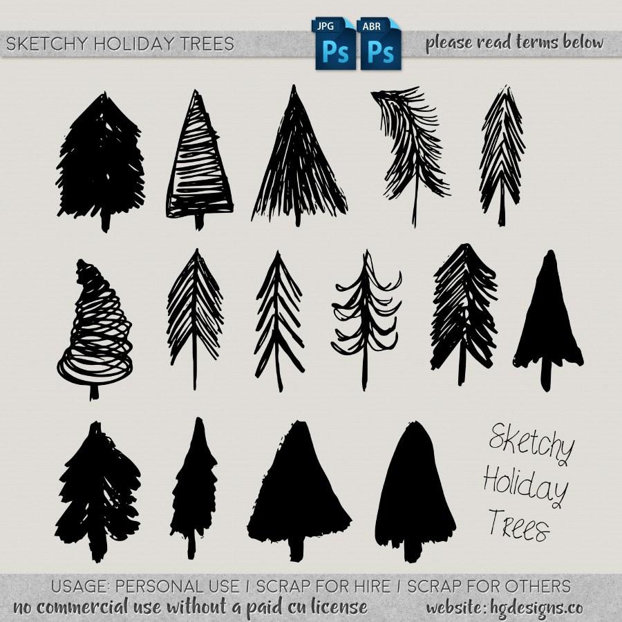手绘涂鸦松树、树木图形PS笔刷下载