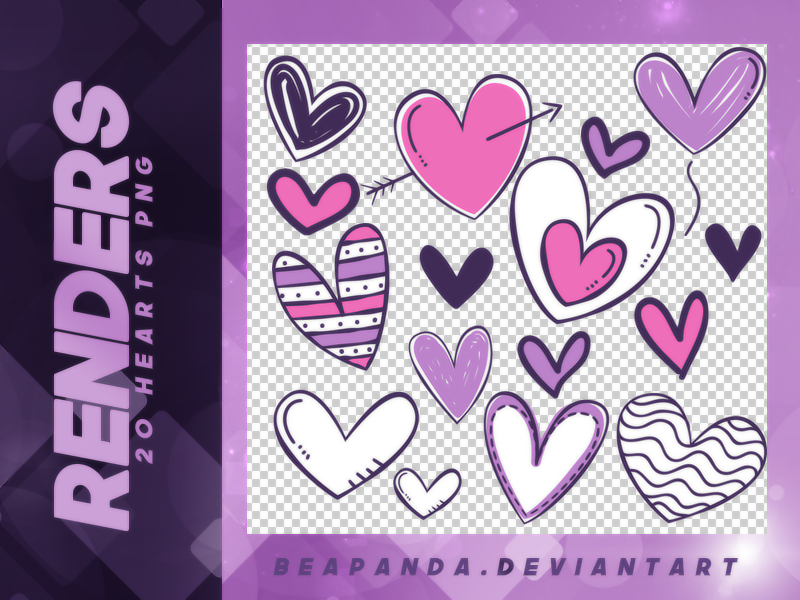 20种卡通涂鸦心形、爱心图案、情人节表白、情侣照片装饰韩国笔刷风格下载(PNG免扣图透明格式)
