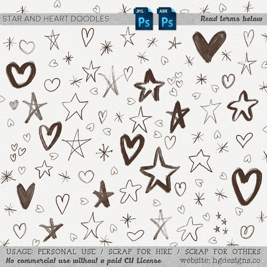 童趣涂鸦星星图案、爱心、五角星装饰PS笔刷下载