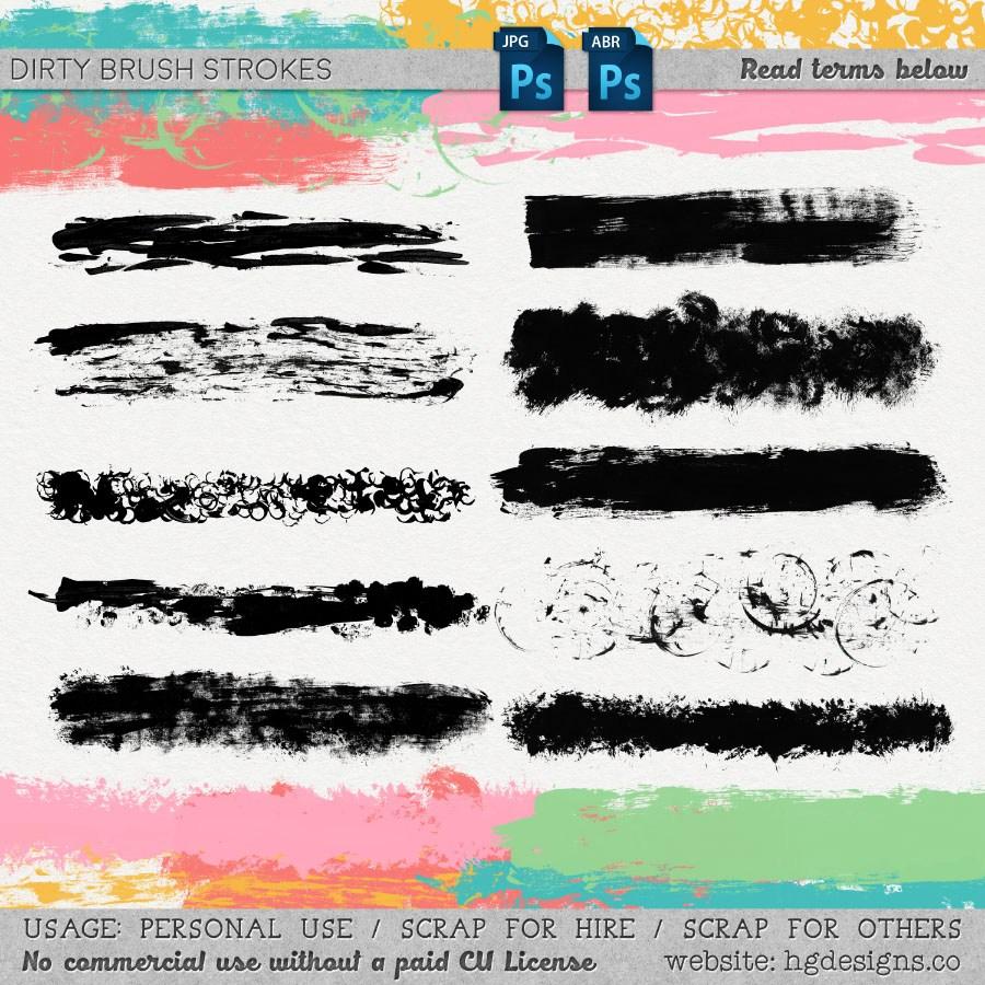 画笔、颜料刷子痕迹效果PS笔刷素材下载
