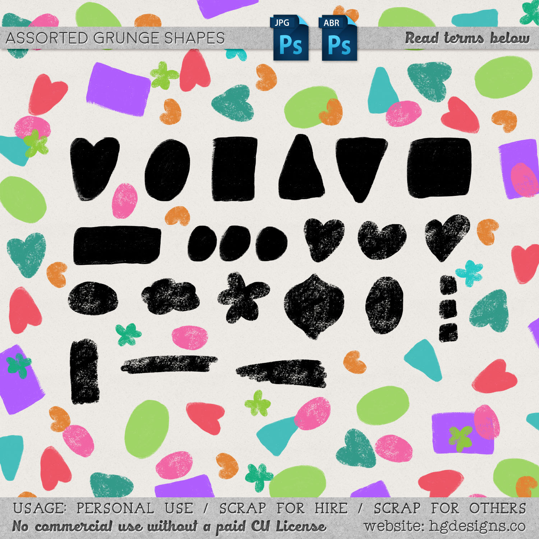各种形装的三角、爱心、椭圆、长方形等图案装饰PS笔刷下载
