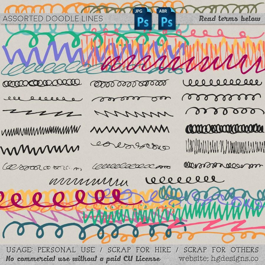 杂乱的手绘线条涂鸦笔迹效果Photoshop笔刷下载