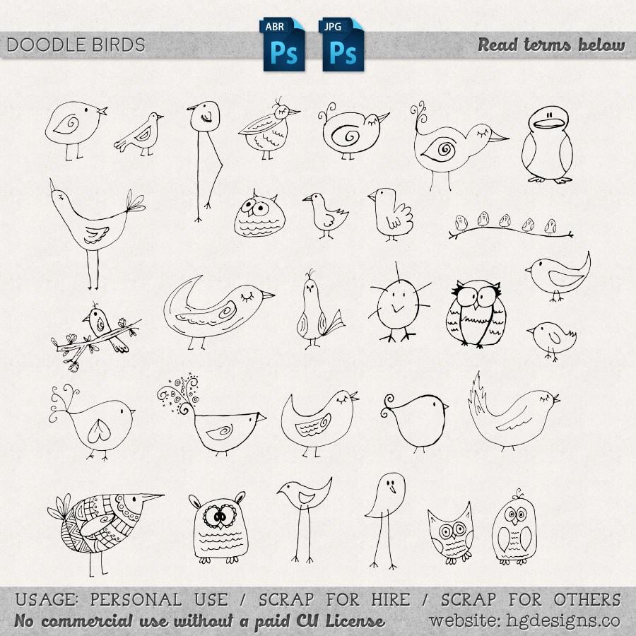 可爱的手绘小鸡、小鸭子、小鸟等图形PS美图呆萌笔刷