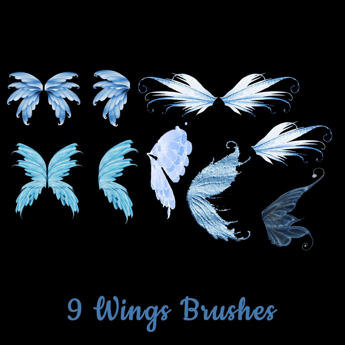 9种漂亮的妖姬、妖精翅膀图案Photoshop笔刷下载