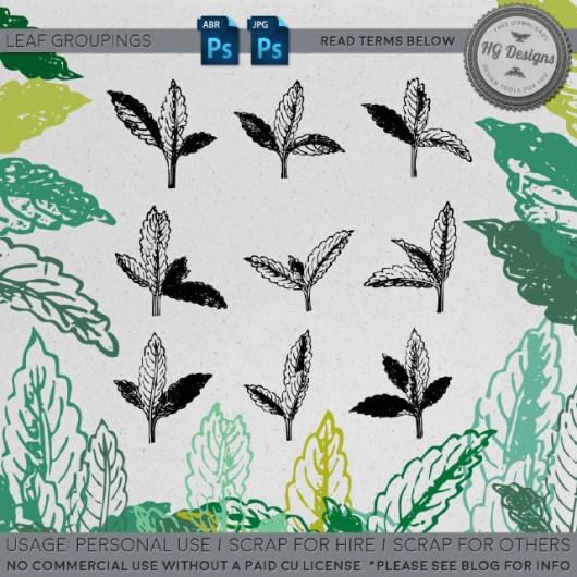 手绘植物嫩芽图案Photoshop笔刷素材