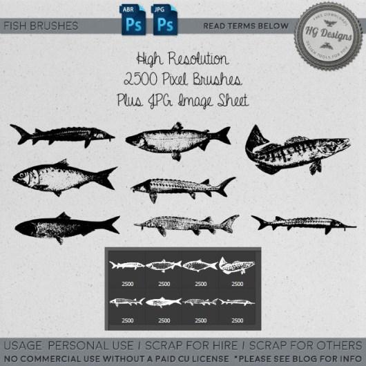大海里的鱼造型Photoshop笔刷素材