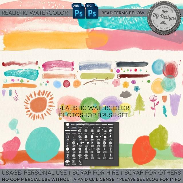 水彩、油墨粉饰、涂鸦笔迹痕迹Photoshop笔刷下载
