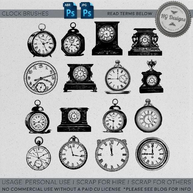 老式钟表图案Photoshop笔刷素材下载