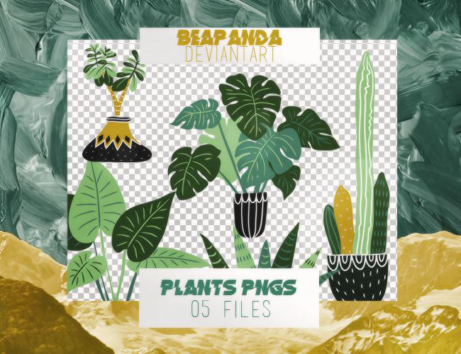 漂亮卡通绿叶植物图案之韩国笔刷风格下载(PNG免扣图透明格式)