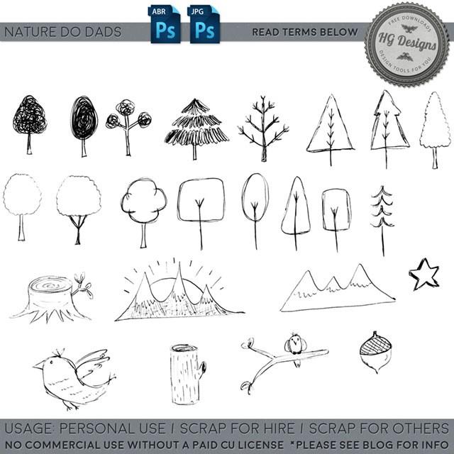 手绘涂鸦小树Photoshop笔刷素材下载