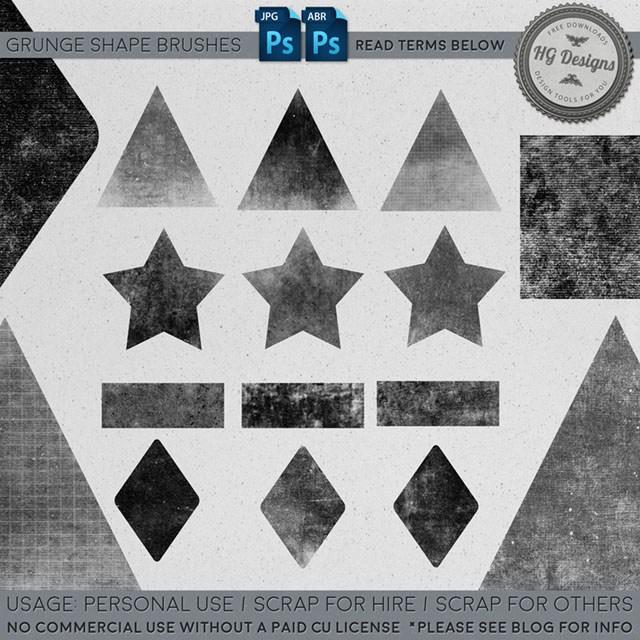 三角形、五角星、菱形、长方形等几何图案PS笔刷下载