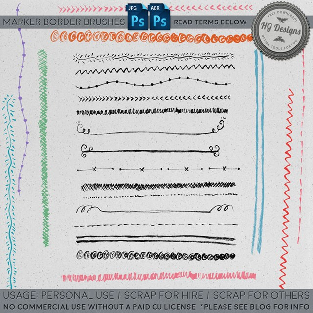 可爱手绘涂鸦分割线条图案Photoshop笔刷素材下载