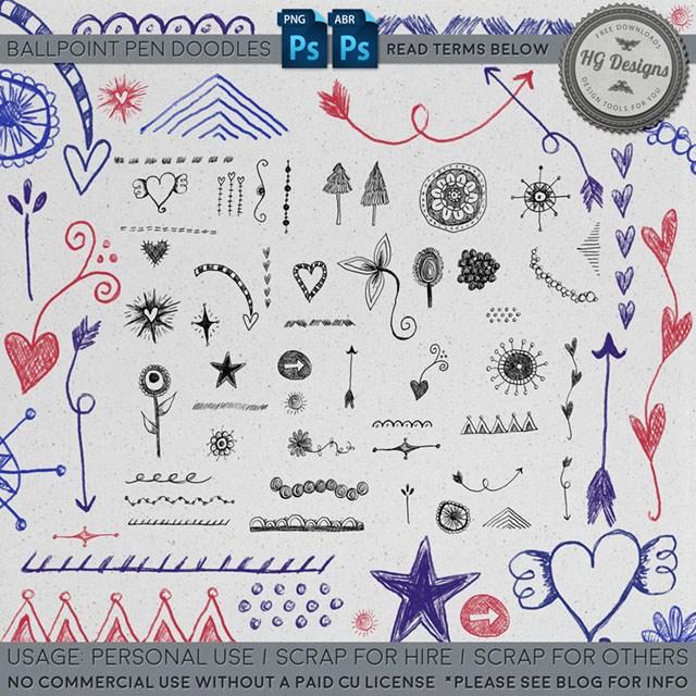 幼稚的呆萌手绘恋爱元素图案Photoshop美图笔刷