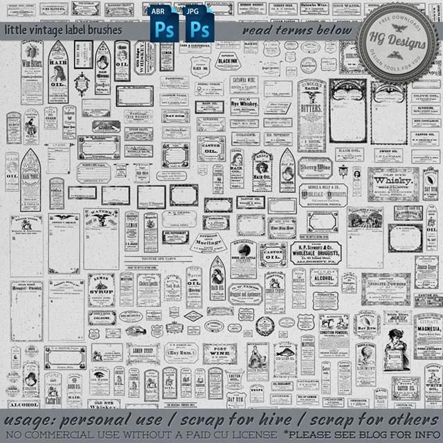 各种欧美复古式标签图案PS笔刷下载