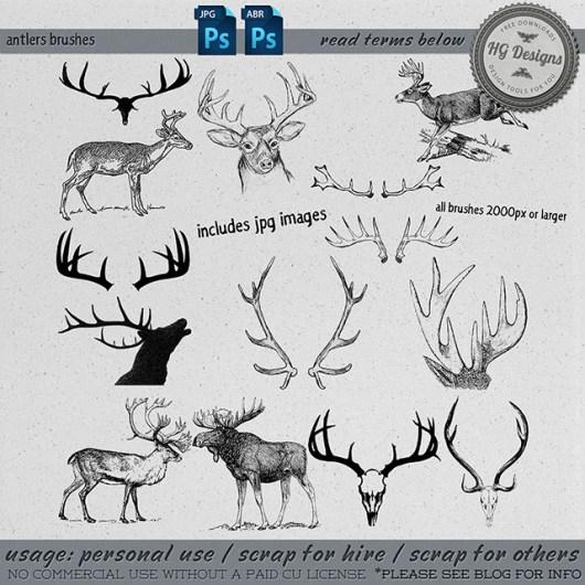 麋鹿、鹿角、梅花鹿PS笔刷素材
