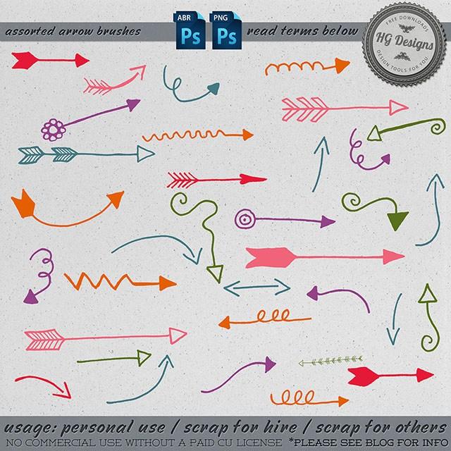 可爱手绘涂鸦箭头标志图案Photoshop笔刷素材下载