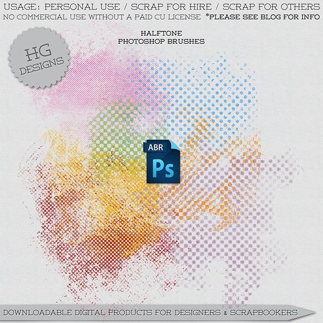 半色调风格的陈旧纹理背景效果PS笔刷下载