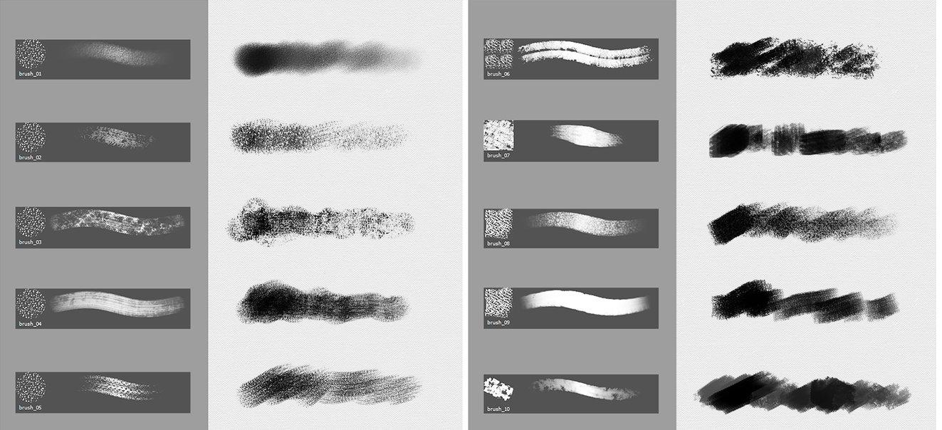 碳素笔和粉笔笔触纹理效果PS笔刷素材下载