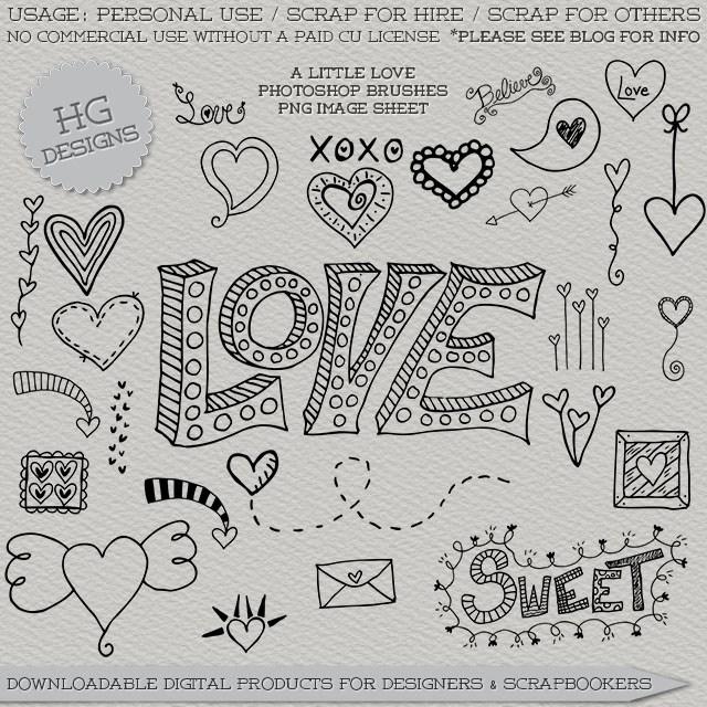 情侣手绘涂鸦装扮PS美图笔刷