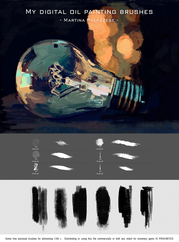 我的数字油画画笔Photoshop笔刷素材