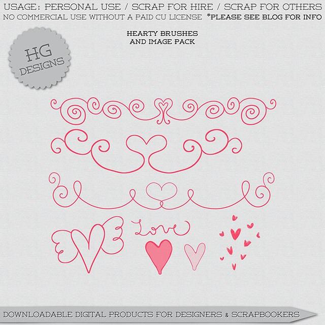 漂亮的爱心、心形艺术花纹笔刷Photoshop丘比特爱情笔刷