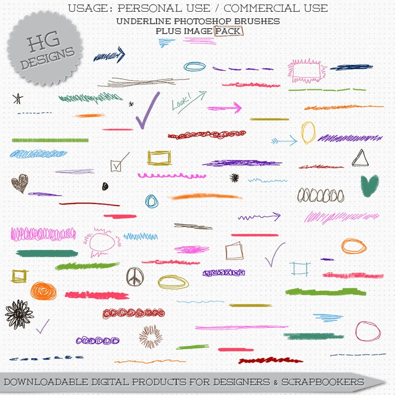 手绘涂鸦线段、草稿涂鸦图案PS笔刷素材下载