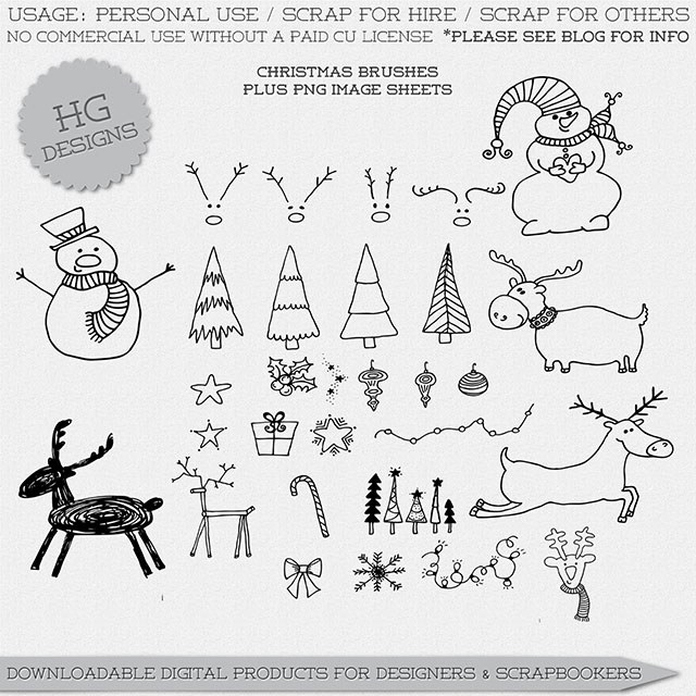 手绘涂鸦雪人、圣诞节树、挂饰品图案PS美图笔刷