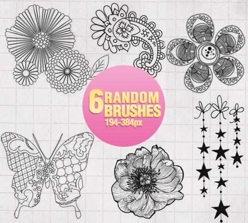 优美的手绘艺术鲜花花朵图案Photoshop印花笔刷