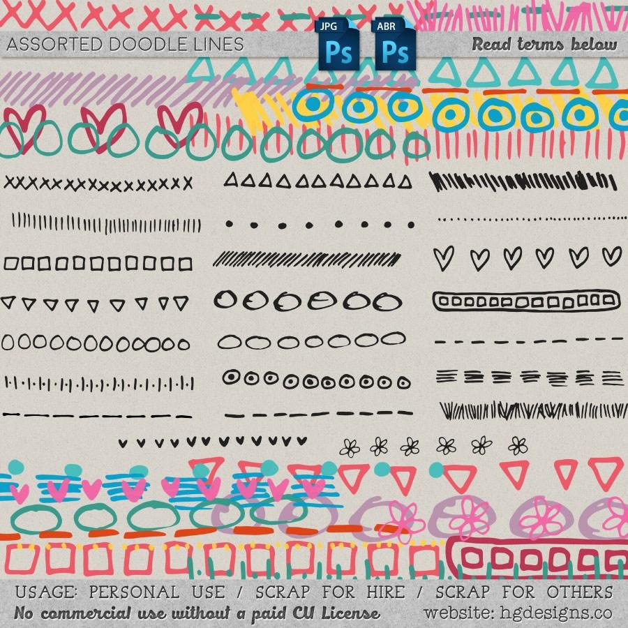 手绘卡通水彩笔涂鸦符号图案PS童趣装扮笔刷