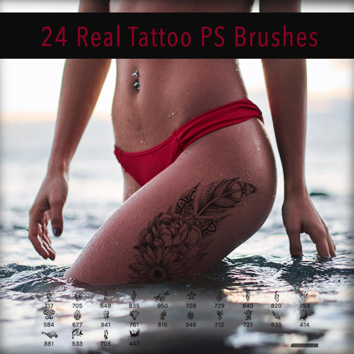24种性感的非主流欧式纹身、纹饰图案Photoshop笔刷下载