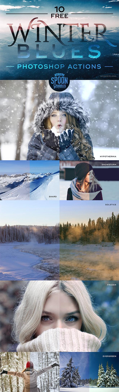 10个免费Photoshop动作:冬季的忧郁主题照片制作
