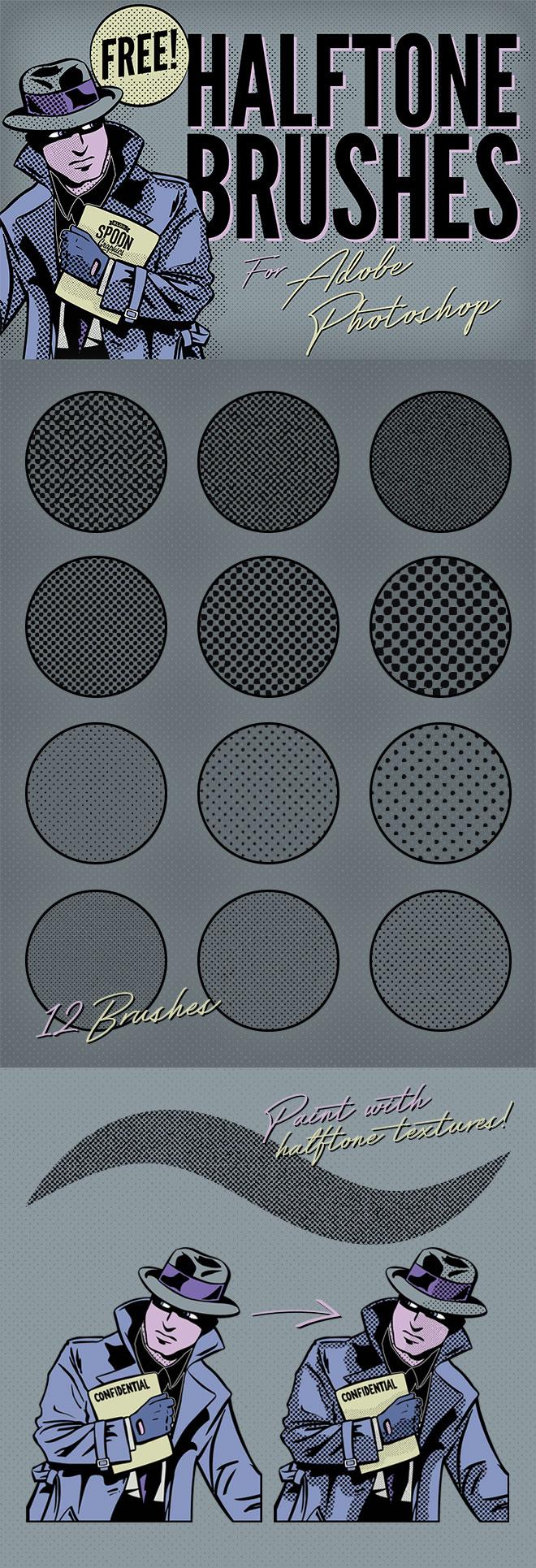 12种斑点纹理、半色调模式背景PS笔刷素材下载